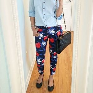 Old Navy Red and Blue Floral Pixie Pants